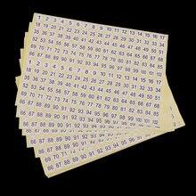 Наклейки круглые Самоклеящиеся с номером от 1 до 102 15 листов