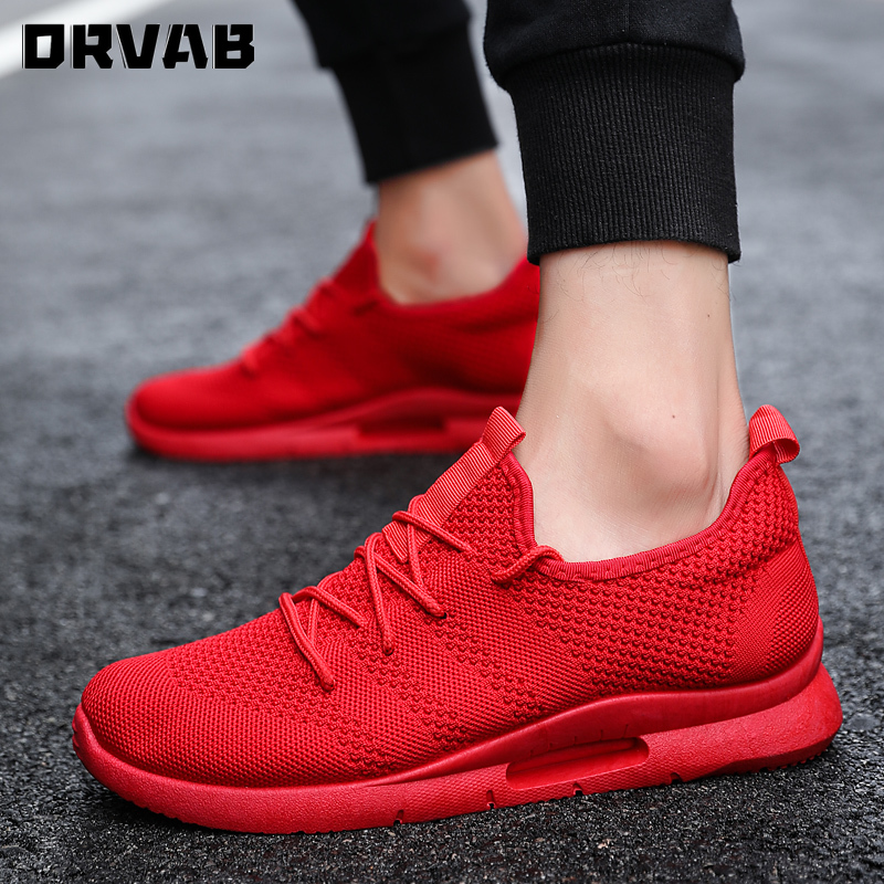 Breathable Sneakers Men Tenis High Quality Male Shoes Adulto Black White Red Comfortable Non-slip Mesh Men Shoes Casual Summer