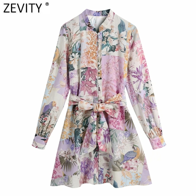 Zevity Women Stand Collar Breasted Bow Sashes Shirtdress Female Patchwork Floral Print Vestidos Chic A Line Mini Dresses DS8255 1