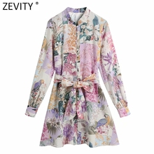 Mini Dresses Sashes Stand Collar A-Line Patchwork Vestidos Chic Floral-Print Breasted