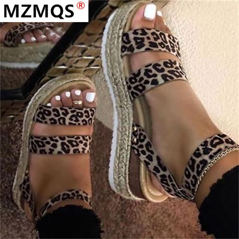 2020 Women Sandals Leopard Pattern Large Size Rome Sandals Women's Summer Fashion Casual Outdoor Beach Sandals Shoes Woman Mujer