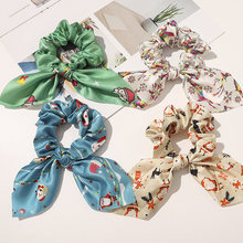 Christmas ribbon ponytail  scrunchies for women elastic hair