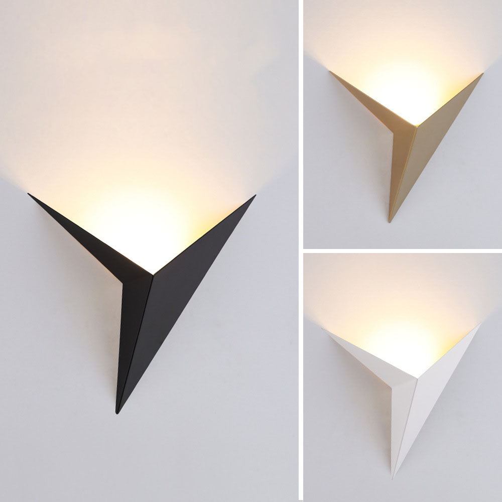 Modern Nordic Minimalist Wall Lamp Wrought Iron Triangle Bedroom Study Hotel Room Bedside Led Wall Lamp Mirror Front Lamp