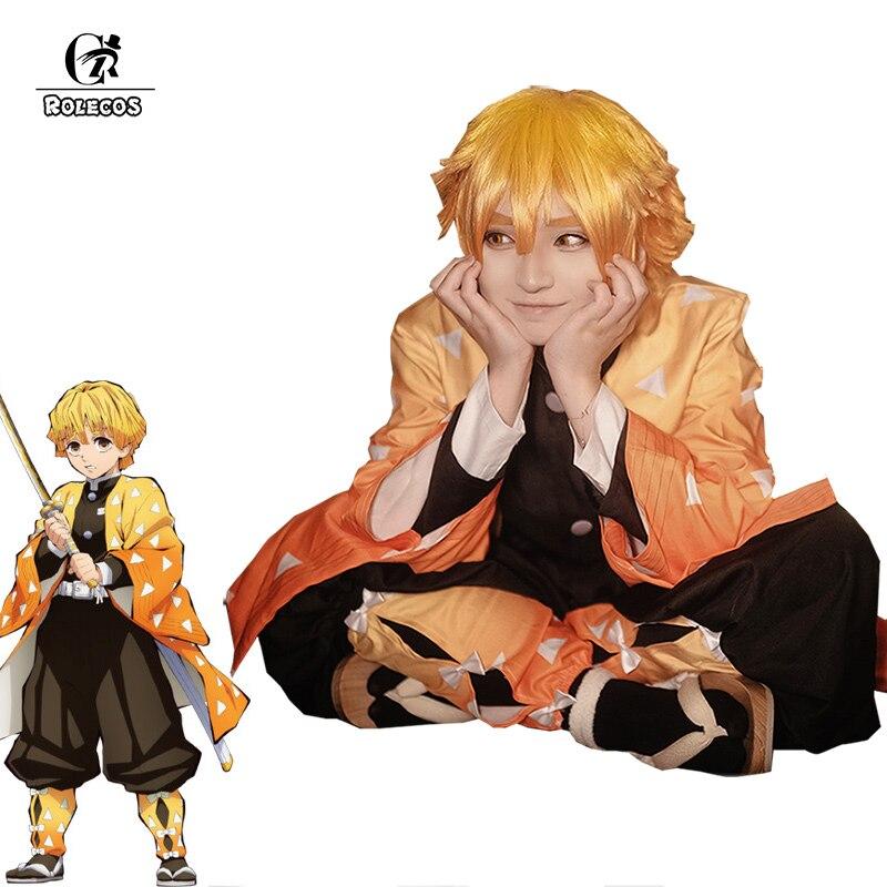 Rolecos anime demônio slayer cosplay traje agatsuma zenitsu kimetsu não yaiba cosplay traje homem quimono uniforme amarelo conjunto completo