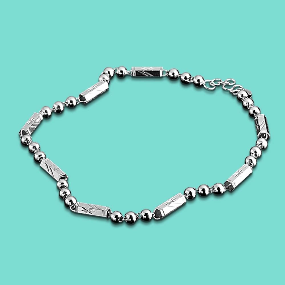 Herren 925 Sterling Silber Halskette, ethnische Muster Design runde Perlenkette, Special Mann Silber Schmuck, Valentinstag Geschenke