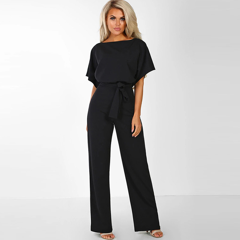 Women's Elegant Summer Short Sleeve Jumpsuits Rompers Plus Size 2XL Loose Bowknot Lace Up Button Long Trousers Party Playsuits