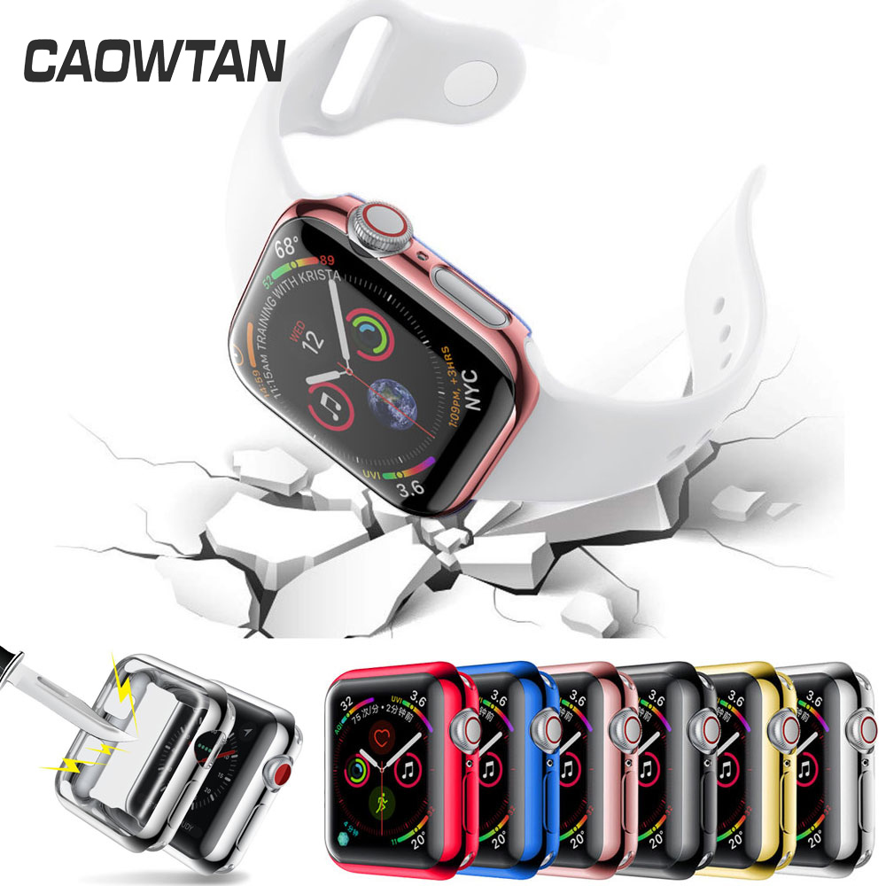 Watch Cover case For Apple series 4 3 2 1 bands 42mm 38mm  40mm 44mm Slim TPU Soft Protector for iWatch