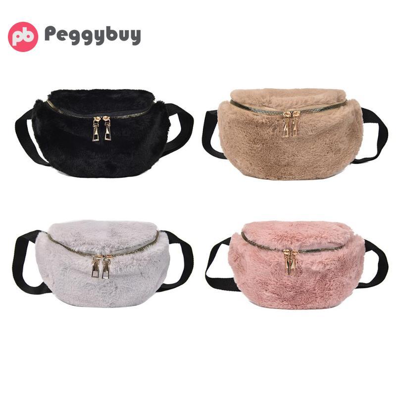 Plush Fanny Waist Bag Women Fashion Chest Pack Zip Shoulder Crossbody Bags Running Zip Belt Money Pouch Holiday Bag Dropshipping