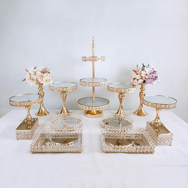 1pcs-13pcs Beautiful Tray 3 tier Cupcake Dessert Display Decoration Tools Wedding Crystal Mirror Cake Stand set