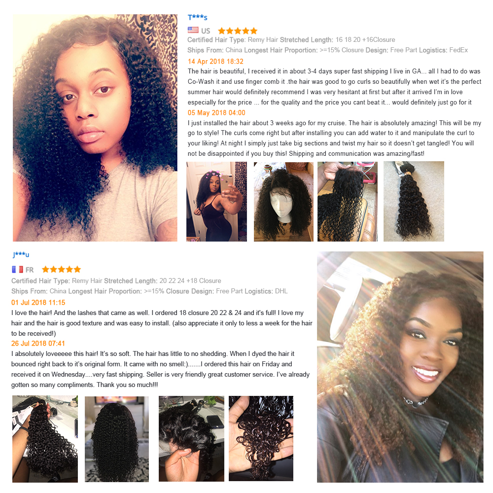 BEAUDIVA Hair Products 100%   Bundles With Closure Kinky Curly Natural Color 3 Bundles With 4x4 Lace Closure 2