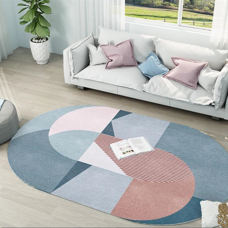 Oval Nordic Carpets For  Living Room Modern Carpet Bedroom Sofa Coffee Table Rug Study Room Floor Mat Cloakroom Brief Area Rugs