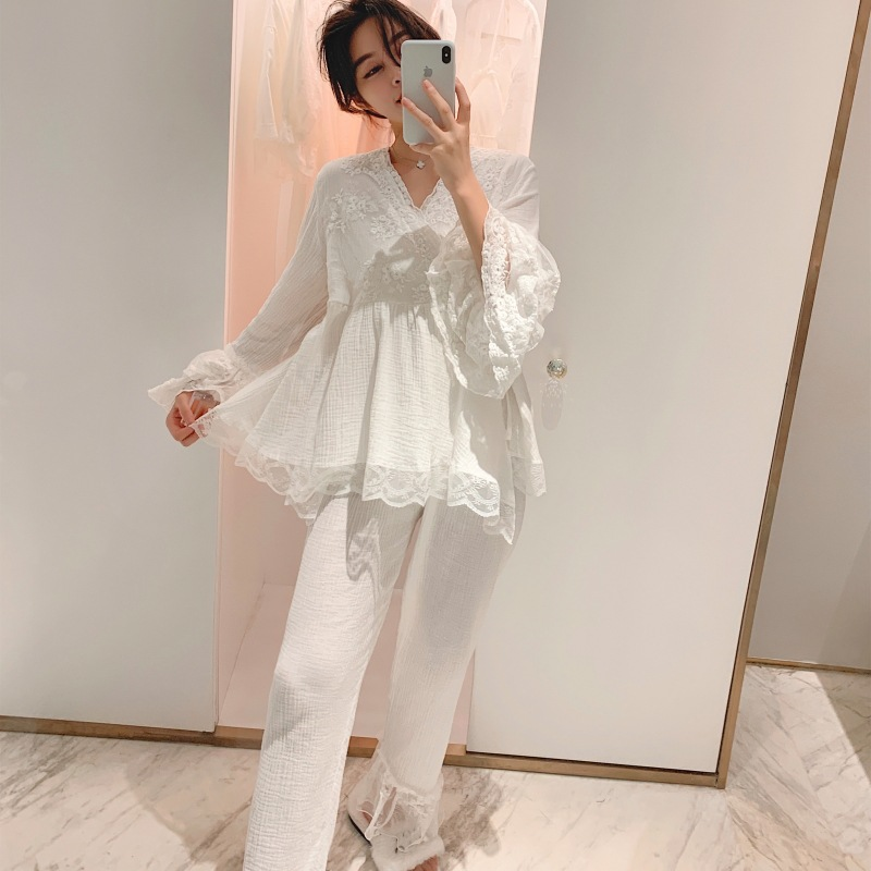 White  Pajamas Long Sleeve Sleepwear Women Pajamas Spring Autumn