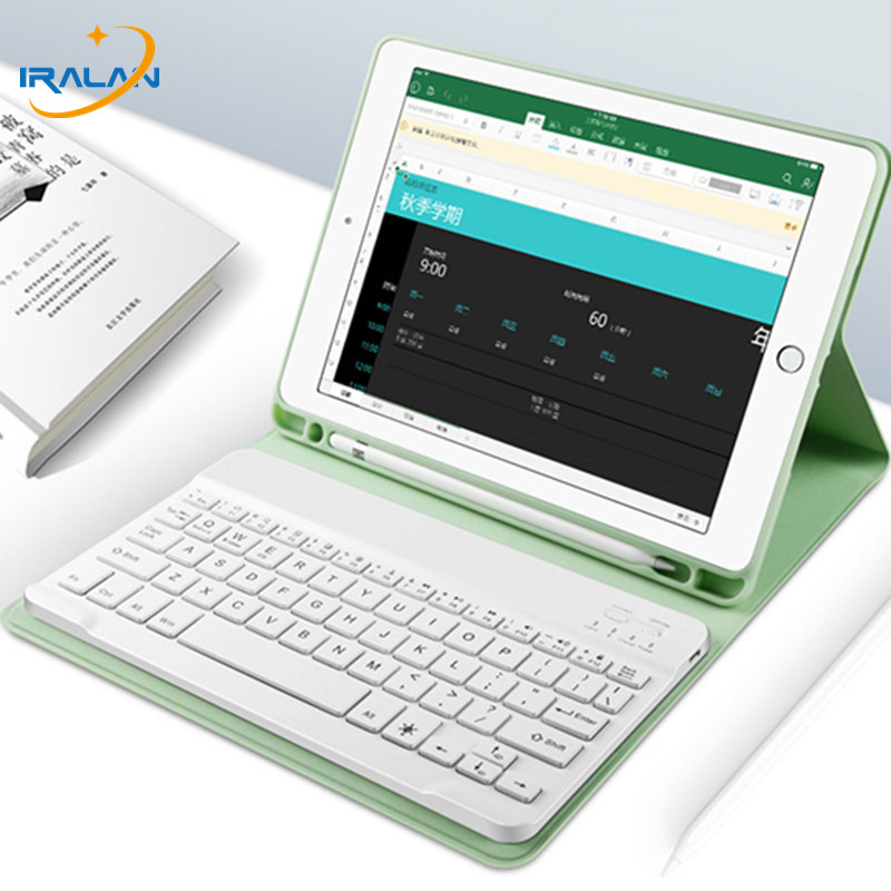 Bluetooth Keyboard Case For Apple IPad 10.2 2019 7th Generation PU Leather Cover For IPad 10.2 Case With Pencil Holder+Film