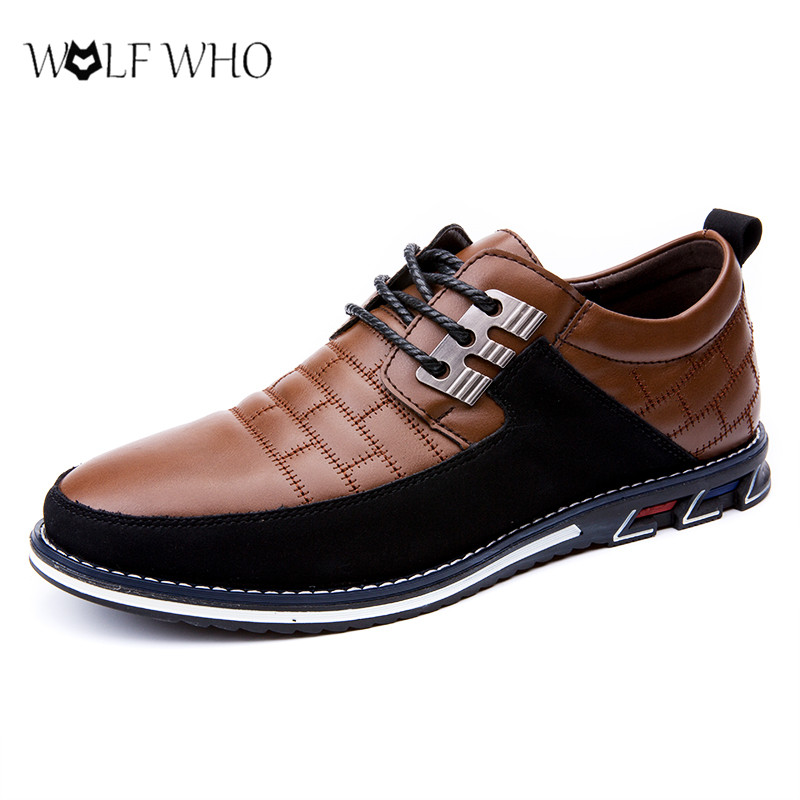 Shoes Men Leather Fashion Casual Shoes Male Lace-Up Loafers Soft Business Wedding Formal Shoes Big Size 38-48# Mocasines Hombre