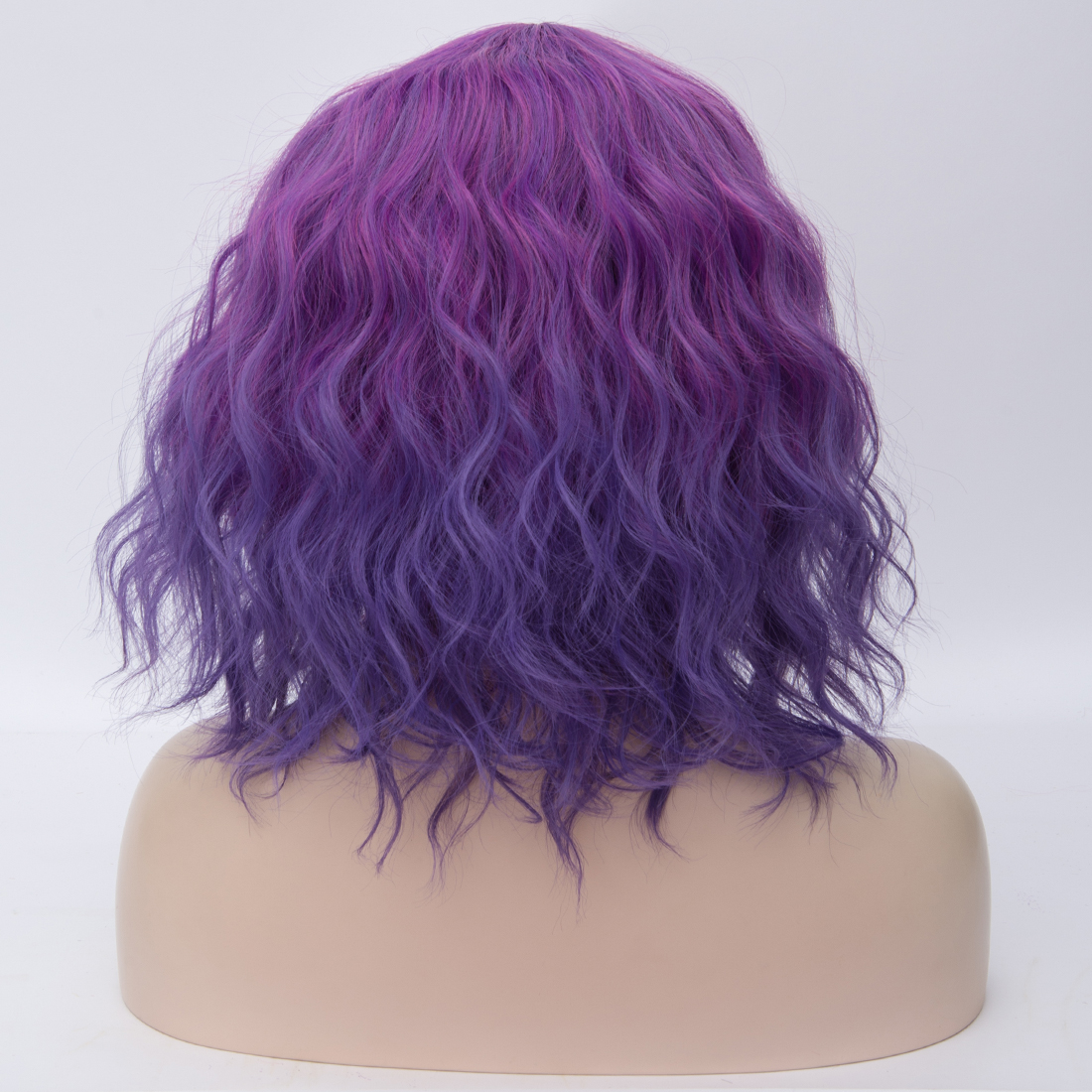H64eff28e53764f2b81f70e83d64c381cV - Similler Short Synthetic Wig for Women Cosplay Curly Hair Heat Resistance Ombre Color Blue Purple Pink Green Orange Two Tones