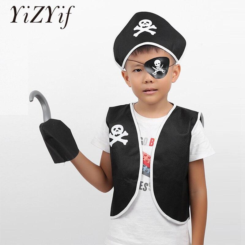 5Pcs Kinder Halloween Pirate Kostüm Pirate Rolle Spielen Kleid Up Set Jungen Mädchen pirate kleid-up pirate thema party Halloween Cpsplay
