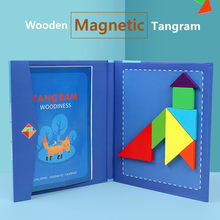 Wooden Magnetic Tangram Puzzle Toys For Children Funny Travel Game Educational Book Kids Toys Early Learning Developing Wisdom(China)