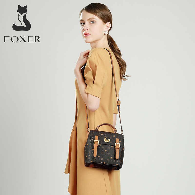 FOXER kobiety skóra PVC torba na ramię Crossbody Monogram drukowanie plecak młodzieżowa dama klasyczna podpis torebka damska torebka damska