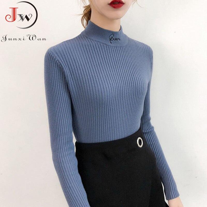 Women Winter Herfst 2019 Used Sweaters Letter Coltrui Long Mouwen Slim Ladies Tops Truien Truien Pull Femme Jumper