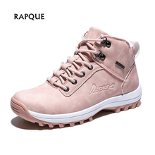 Women's Winter Boots Women Warm Plush Pink Ankle Snow Boots with Fur Fashion Leather Winter Shoes Woman Boot Female Big Size 42 цены