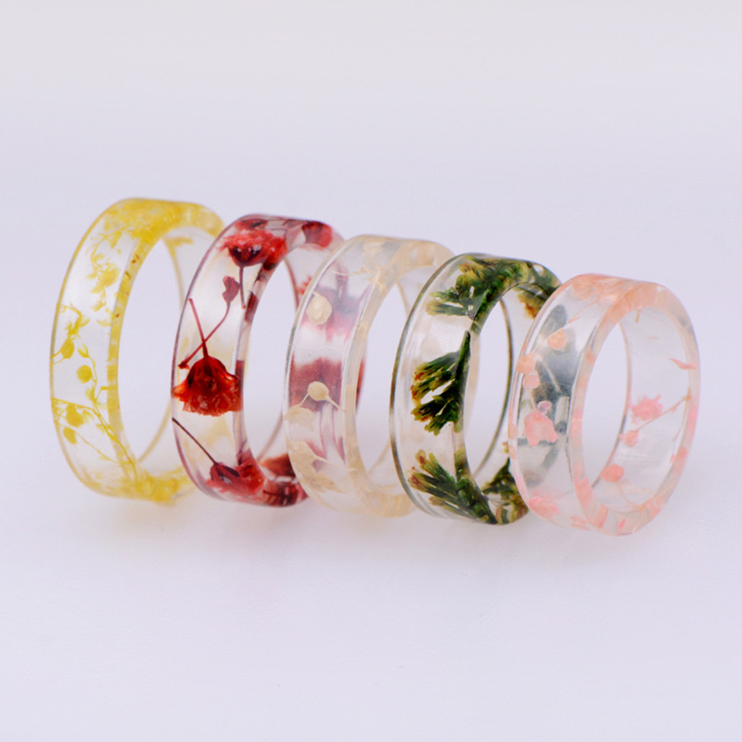 Creative Female Dried Flower Ring Trendy Statement Transparent Resin Fashion Party Exquisite for Women