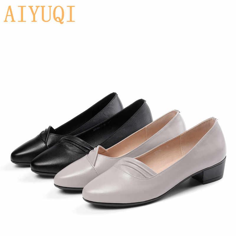 AIYUQI 2020 yeni resmi kadın ayakkabı hakiki deri kadın ayakkabı artı boyutu 41 42 rahat ayakkabılar kadınlar için düz ayakkabı