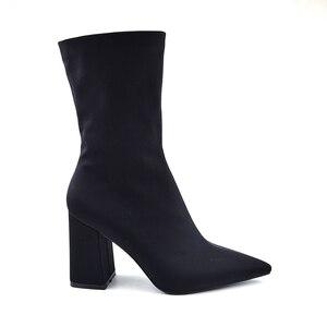 Image 3 - Botines de tela elástica para mujer, botines ajustados con punta estrecha y tacón alto, Sexy, de talla grande, color negro, 2020