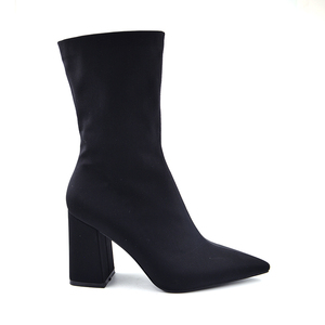 Image 3 - Woman BootsFemale Fashion Stretch Fabric Pointed Toe Slim Ankle Boots 2020 Ladies Slip on High Heel Sexy Black Plus Size Shoes