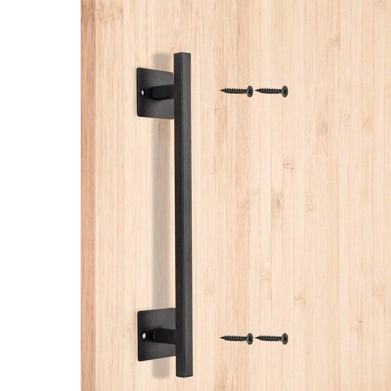 Ev Dekorasyonu'ten Kulp setleri'de 12 inç ağır çelik siyah kare sürgülü kapı çekme kolu için kayan ambar kapısı kapılar garajlar tutuyor mobilya title=