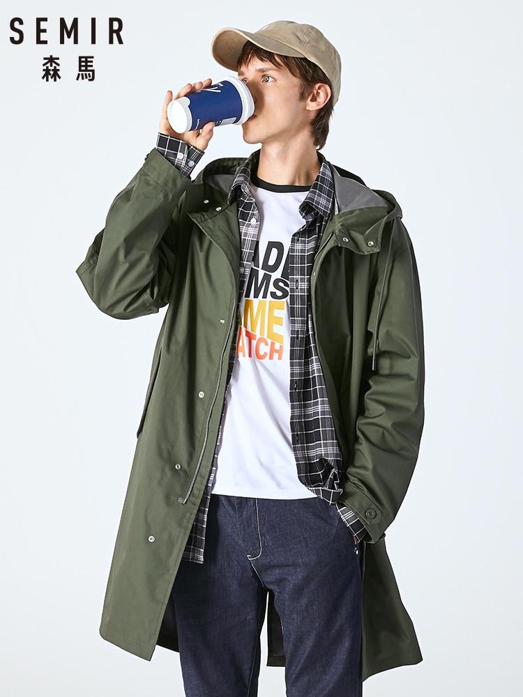 SEMIR Men Windbreaker 2019 Autumn New Loose Silhouette Long Section Jacket Korean Version Trend Handsome Knee Coat