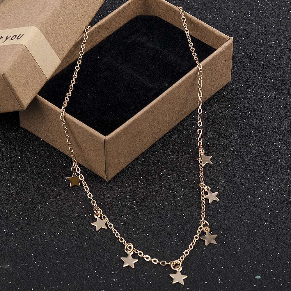 Fashion Women Lady Elegant Star Pendant Beach Chocker Chain Necklace Simple Choker Party Dress Necklaces Jewelry Gold Necklace