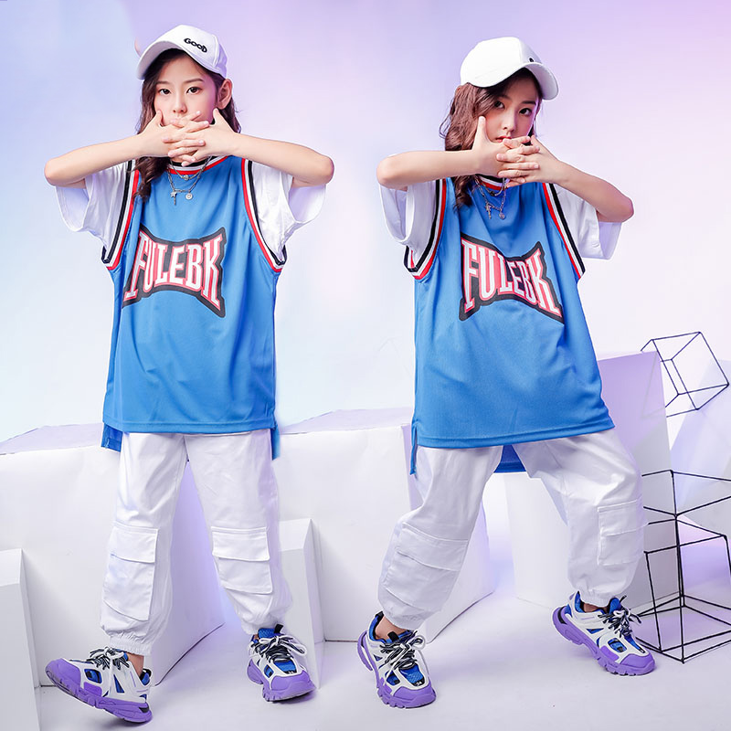 Jazz Dance Costume Girls Hiphop Rave Outfit Blue Street Dance Practice Wear Stage Performance Kids Sport Clothing 2 Pcs DF1654