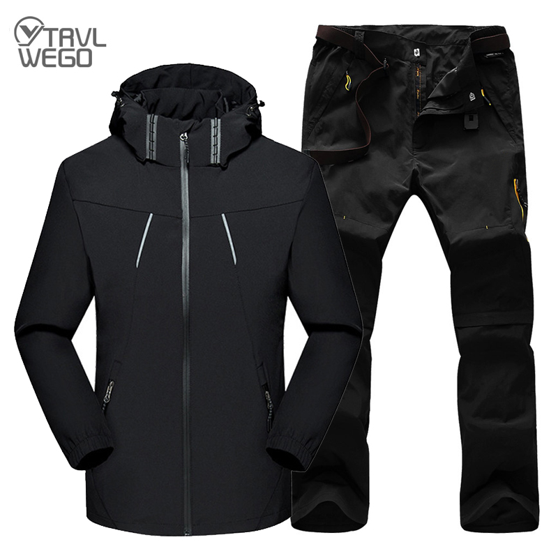 TRVLWEGO Men Spring Autumn Outdoor Trekking Hiking Jackets and Pants Waterproof Windproof Male Sports Camping Clothing 1 Set