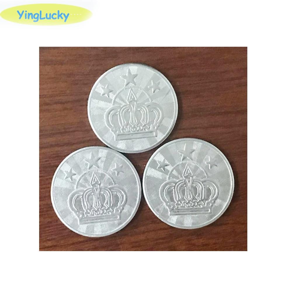 100 Pcs 25 * 1.85mm Metal Arcade Game Tokens Stainless Steel Arcade Game Coin Pentagram Crown Tokens