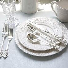 1pcs Luxury Western Silverware Retro Tableware Silver Dinnerware Set Dinner Knife Fork Dessert Coffee teaspoon Kitchen Cutlery