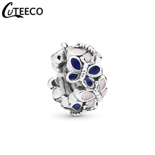 CUTEECO New Design Pink Blue Butterfly Enamel DIY Beads Fits Pandora Spring Series Charm Bracelet For Women Jewelry Accessories