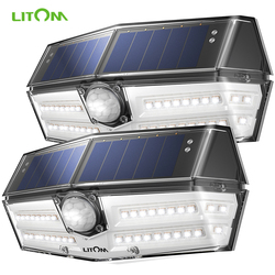 2 pack/lote LITOM 40 LED luz Solar movimiento al aire libre Sensor luces 24.5% Panel Solar de alta eficiencia IP66 270 lámpara de Super gran angular
