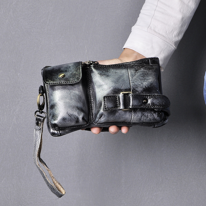 New Hot Sale Original Leather Men Fashion Travel Fanny Waist Belt Bag Chest Pack Sling Clutch Bag Design Phone Case Male 8135-bb