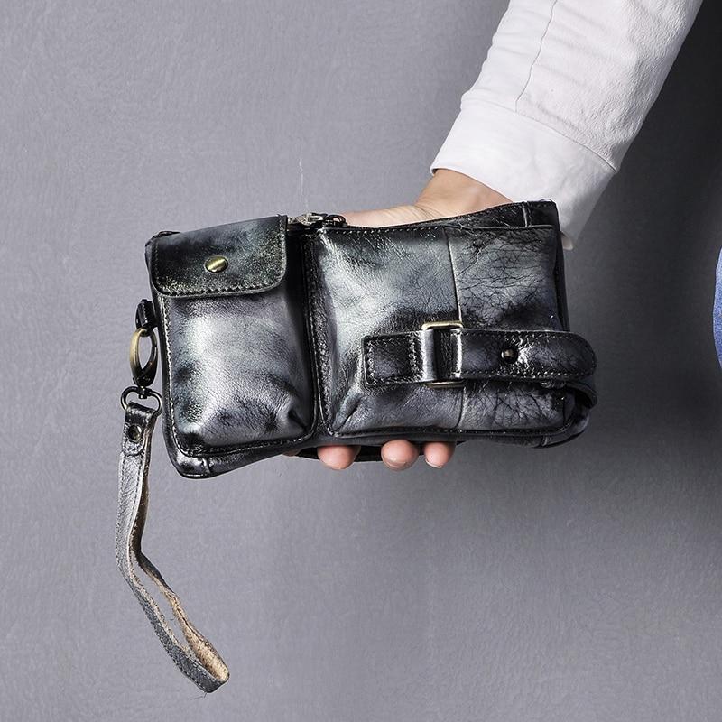 New Hot Sale Original Leather Men Fashion Travel Fanny Waist Belt Bag Chest Pack Sling Clutch Bag Design Phone Case Male 8135-bb