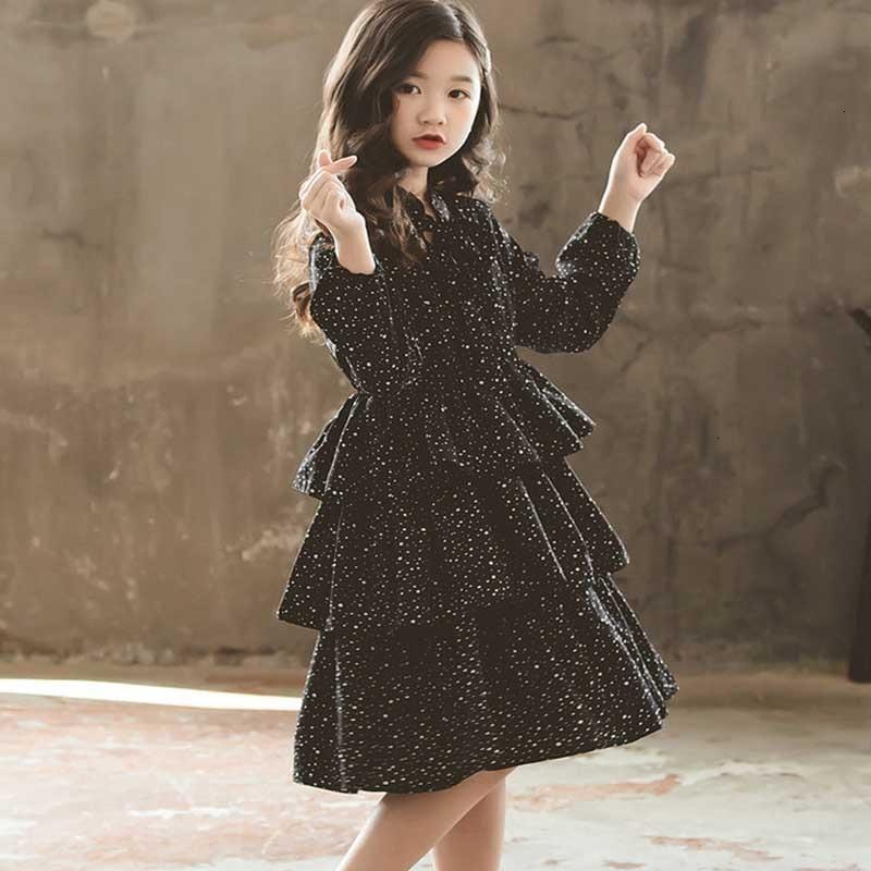 Nouveau 2019 adolescent enfants automne robe noir hiver filles robes mode enfants bébé princesse robe mère et fille vêtements