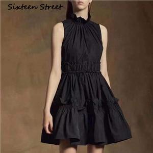 Женское Короткое платье без рукавов SIXTEEN, модельное вечернее платье с воротником-стойкой и эластичным поясом, весна-лето