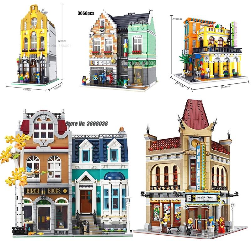 Creator Architecture City Expert Street View 10270 2524PCS  European Style Bookshop Building Blocks Compatible Lepining Toy