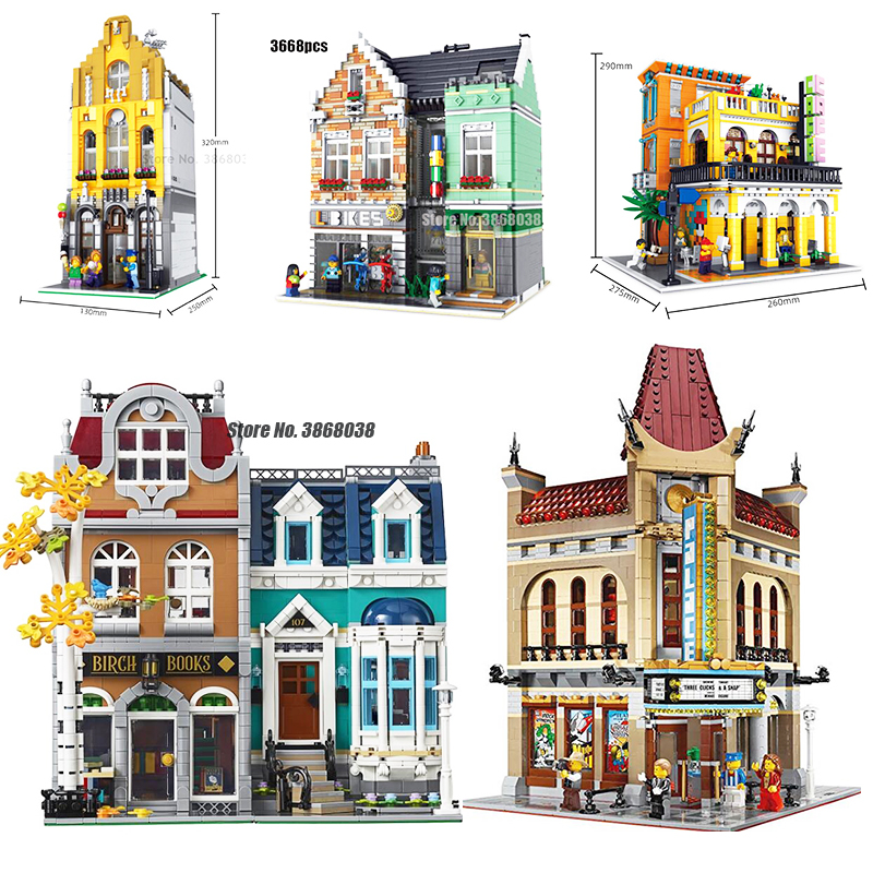 Creator Architecture City Expert Street View <font><b>10270</b></font> 2524PCS European Style Bookshop Building Blocks Compatible lepining Toy image