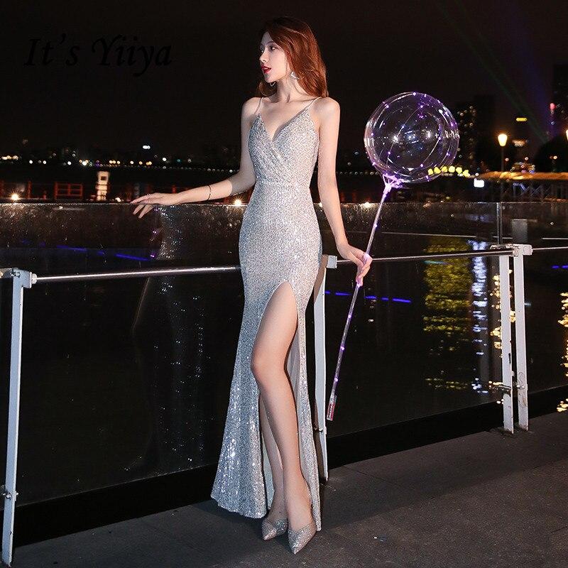 It's Yiiya Evening Dresses Silver Shining Sequined Spaghetti Strap Formal Gowns V Neck Mermaid Floor Length Evening Dresses K083