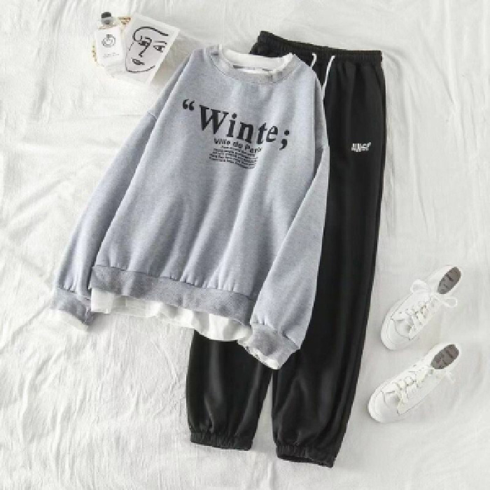Autumn New Style 2019 Fashion Hoodie Student Set Korean-style Fashion INS Loose-Fit Mock Two-Piece Tops Outside Autumn Clothing