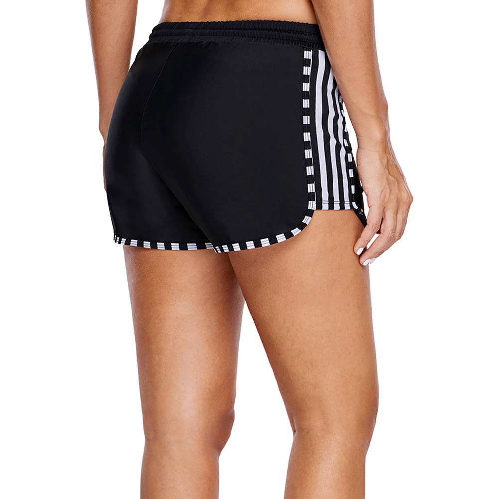 Zebra Stripes Boxers Women's High-waisted Lace-up Sports Boxers Black And White With Pattern Beach Shorts