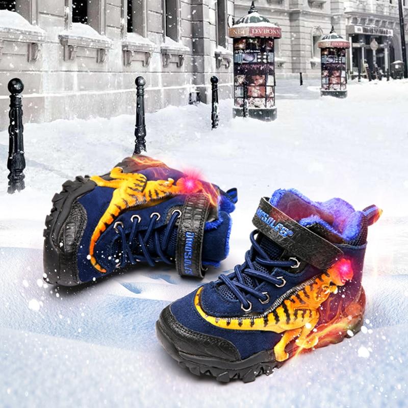 Dinoskulls children Winter Snow Shoes Boys Led Light Up 3D Dinosaur Genuine Cow Suede Fur Footwear Velvet Warm Boots kids Shoes