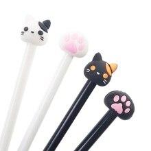 1Pc Black Rod Black White Cat Head Claw Gel Pen Wrting Office School Supplies Signature Pen Cat paw pen