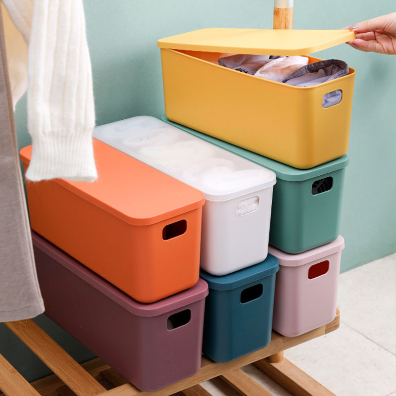 1 PC Desktop Storage Box Thickened Color Stackable Snack Toy Cosmetic Plastic Container Home Office Bathroom Store Organization
