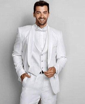 Men's Slim Fit Suit Romantic Wedding 3 Piece Jacket Vest Pants Sets Trajes de Hombre Para Bada Formal Suit Groom Blazer